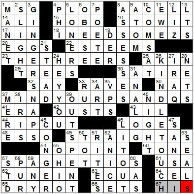 LA Times Crossword Answers 26 Sep 12, Wednesday