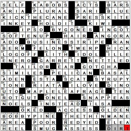LA Times Crossword Answers 25 Nov 12, Sunday