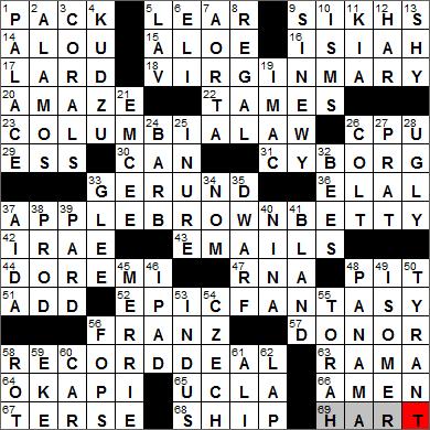 LA Times Crossword Answers 6 Nov 13, Wednesday