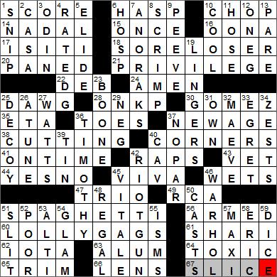 LA Times Crossword Answers 9 Jan 14, Thursday