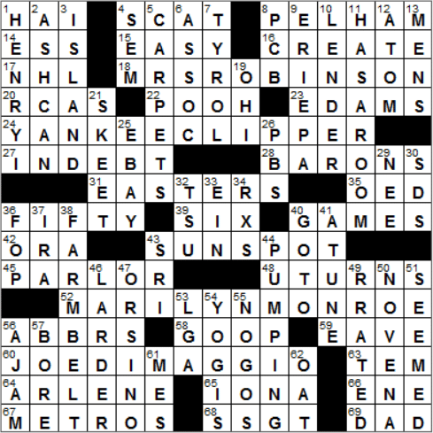 LA Times Crossword Answers 25 Nov 14, Tuesday