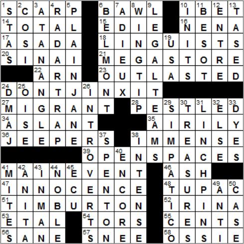 LA Times Crossword Answers 29 Nov 14, Saturday