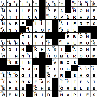 LA Times Crossword Answers 6 Jul 15, Monday