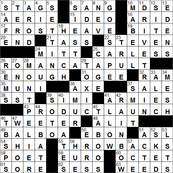 Sample of Los Angeles Times Sunday Crossword Puzzle ...