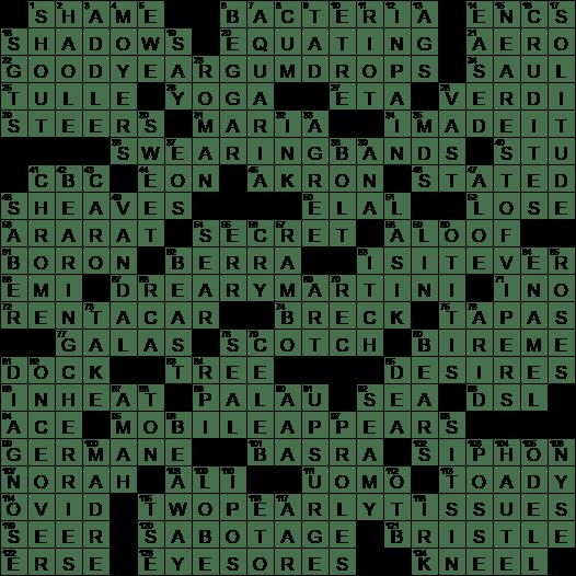 La Times Crossword Answers 11 Dec 16 Sunday