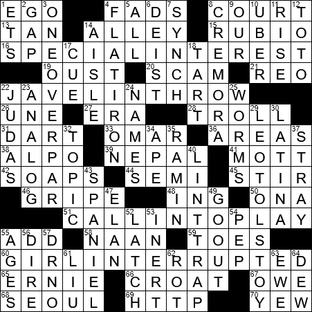 Decathlon Event Crossword Clue Archives Laxcrossword Com