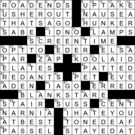 La Times Crossword 9 Mar 19 Saturday Laxcrossword Com