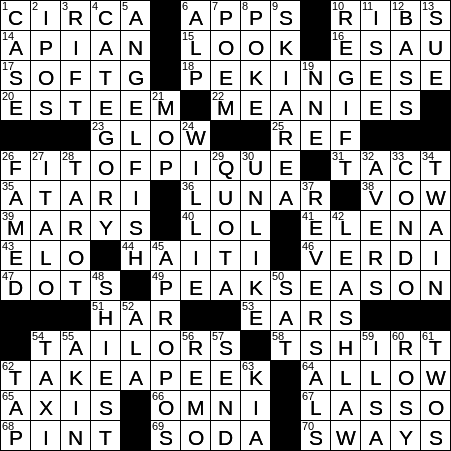 La Times Crossword 20 Mar 19 Wednesday Laxcrossword Com