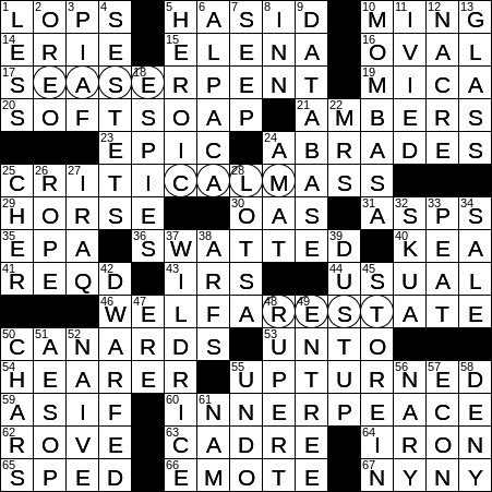 0107-19 NY Times Crossword 7 Jan 19, Monday