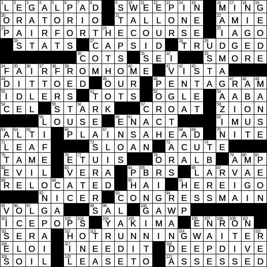 310023afa9339 LAXCrossword.com - Answers to the Los Angeles Times Crossword