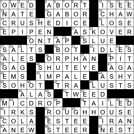 La Times Crossword 29 May 19 Wednesday Laxcrossword Com