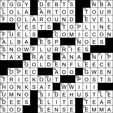 La Times Crossword 18 Jul 19 Thursday Laxcrossword Com