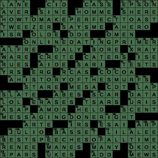 La Times Crossword 25 Aug 19 Sunday Laxcrossword Com