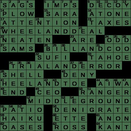 La Times Crossword 28 Oct 19 Monday Laxcrossword Com