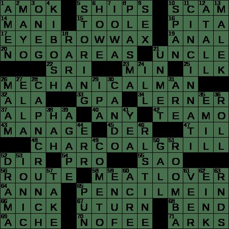 La Times Crossword 8 Oct 19 Tuesday Laxcrossword Com