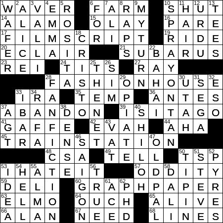 La Times Crossword 16 Dec 19 Monday Laxcrossword Com