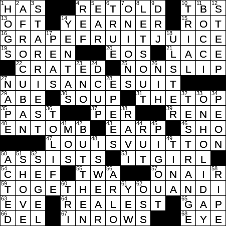 La Times Crossword 10 Mar 20 Tuesday Laxcrossword Com