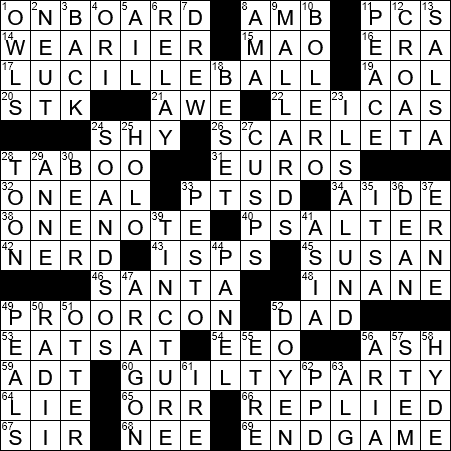 La Times Crossword 17 Mar 20 Tuesday Laxcrossword Com