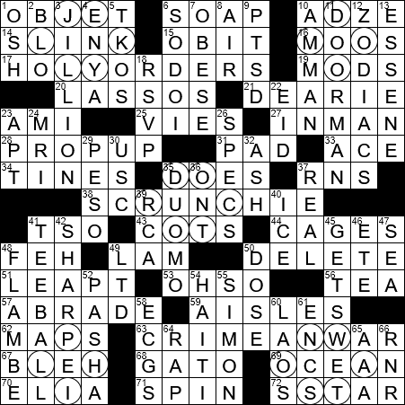 La Times Crossword 18 Mar 20 Wednesday Laxcrossword Com