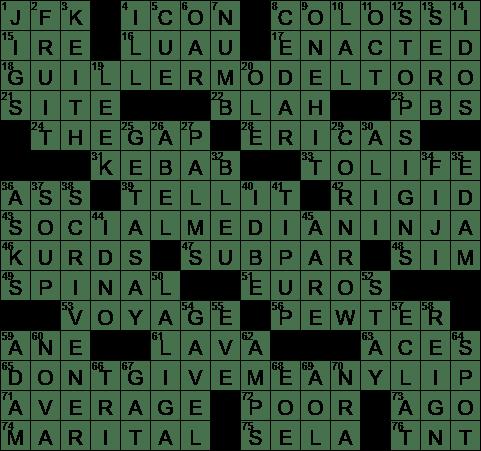 La Times Crossword 24 Apr 20 Friday Laxcrossword Com