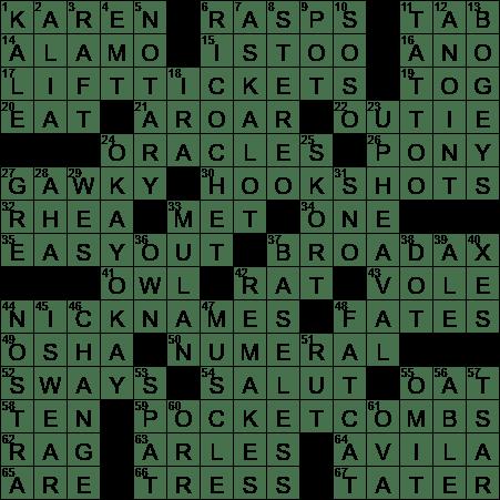 La Times Crossword 18 Jun 20 Thursday Laxcrossword Com
