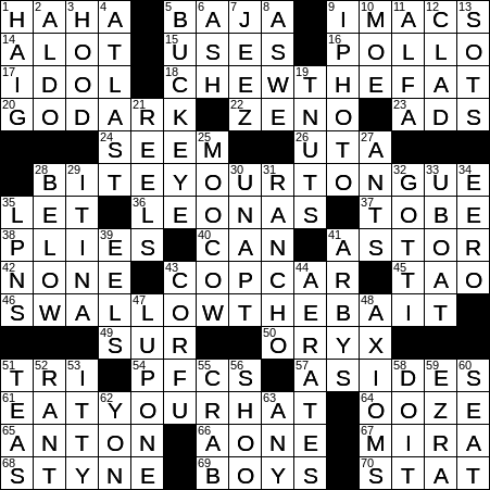 La Times Crossword 9 Jun 20 Tuesday Laxcrossword Com