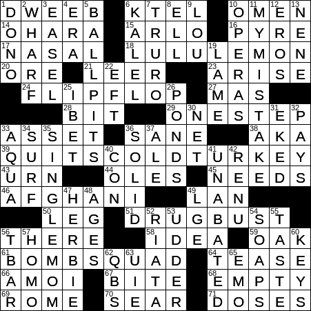 La Times Crossword 14 Jul 20 Tuesday Laxcrossword Com