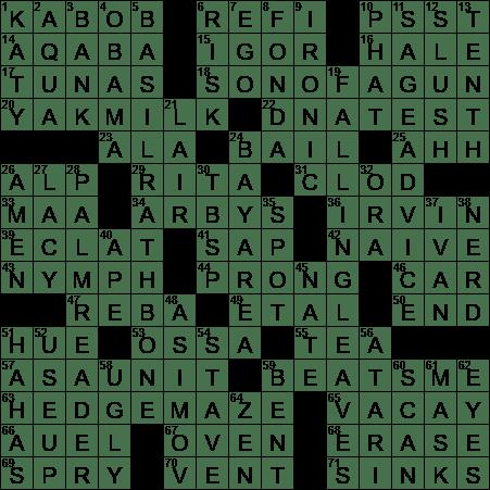 La Times Crossword 6 Oct 20 Tuesday Laxcrossword Com